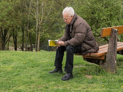 old man sitting on the bench