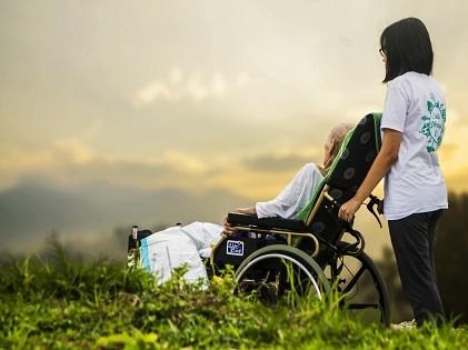 elderly old sick in wheelchair