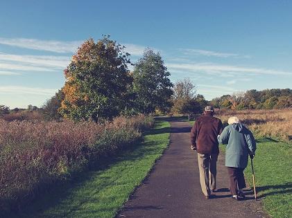 elderly old walking together